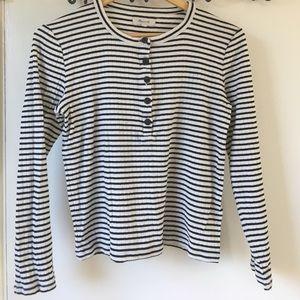 Madewell Long Sleeve Button Striped Tee SZ M